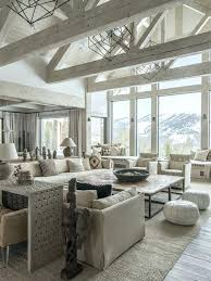 Rustic Living Room Mountain Style Formal And Open Concept Light Wood Floor Gray