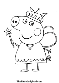 Coloring Pages Peppa Pig Free Thelittleladybird Line Drawings