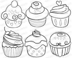 Cupcake Digital Stamps cherry cream cupcakes hand drawn sketch