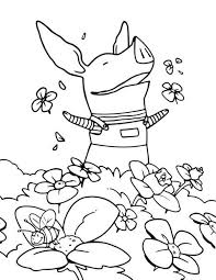 Olivia The Pig At Flower Garden Coloring Page