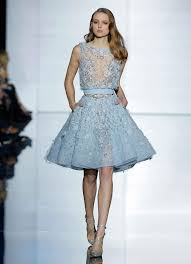 beading flowers light blue cocktail dresses 2016 zuhair murad