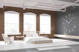 schlafzimmer mit großen uhr auf graue wand ein riesiges bett und einem sessel konzept der gemütlichen zuhause 3d rendering