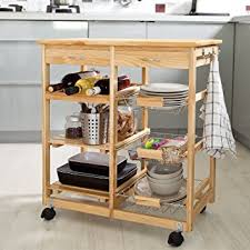 Amazon Haotian Wooden Kitchen Storage Cart with Shelves