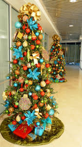 Red Gold And Turquoise Christmas Tree
