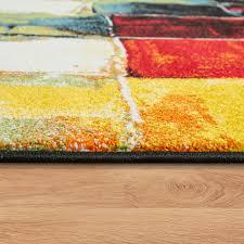 moderner kurzflor designer teppich mit karo design gemälde