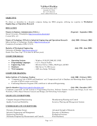 Resume Examples Internship In Dynamic Pany Objective With Master Technology Industrial Engineering