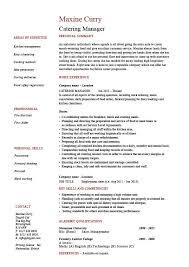 Catering Manager CV Template Food Preparation Job Description