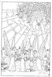 Jesus Christ Second Coming Coloring Page And Angels Around The