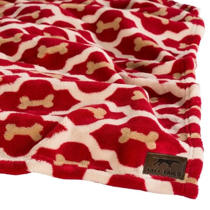 "Tall Tails Bone Dog Fleece Blanket - Red, 20"" x 30"""
