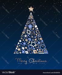 Christmas And New Year Copper Tree Decoration Card Vector Image