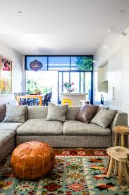 Microfiber Sectional Sofa Living Room Contemporary With Bean Bag Chair Bright Rug Couch Gray Island