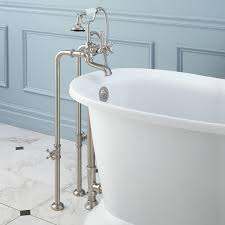 Brushed Nickel Bathroom Faucets Cleaning by Freestanding Telephone Tub Faucet Supplies Valves And Drain