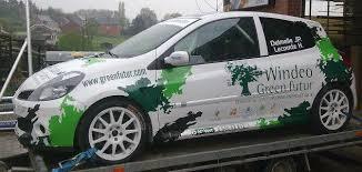 deco voiture de rallye une place honorable pour la voiture windeo green futur au rallye
