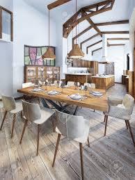 esszimmer mit einem modernen landhausstil küche serving ein holztisch für acht personen 3d übertragen