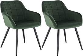 woltu esszimmerstühle bh93dgn 2 2er set küchenstuhl polsterstuhl wohnzimmerstuhl sessel mit armlehne sitzfläche aus samt metallbeine dunkelgrün
