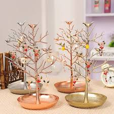 Tree Creative Jewelry Display Rack Bird Metal Retro Earrings Necklace Shelf Holder