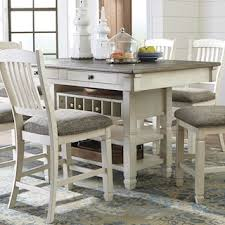 Signature Design By Ashley Bolanburg Counter Table In Antique White And Weathered Oak