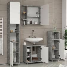 vicco badmöbel set fynn badezimmer spiegel kommode unterschrank grau beton