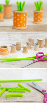 Craftsbycourtney DIY Washi Tape Thread Spool Carrots