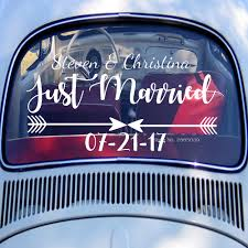 100 Custom Window Decals For Trucks US 498 25 OFFCar Rear Decal Just Married Wedding Car Just Married Sign Groom Bride Name Date Art Bumper Decor LC1284in