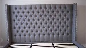 Blue Velvet King Headboard by Upholstered Tufted Headboard And Bed Versailles Bed Structube