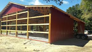 Steel Truss Pole Barn. Enclosed Shop. Southern Florida, Georgia ... Pole Barn Kits Decor References Custom Built Pole Barns Deep South Buildings Home Design Post Frame Building Kits For Great Garages And Sheds Metal Roofing Supplier Provides 3 Benefits Of A Barn Garden Fancy Red Roodtop Morton Alluring Surprising Exterior With Snazzy House Alabama Condointeriordesigncom Country Wide Adding Leanto To Homes