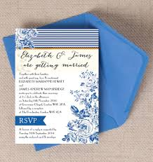 Navy Blue Rustic Kraft Nautical French Toile De Juoy Floral Fabric Print Wedding Invitations Invites Printable