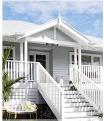 100 Weatherboard House Designs Love The Blue Grey Weatherboard White Railings Verandah