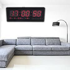 led digital digitaluhr wanduhr mit 12 24 stunden temperatur wanduhr büro uhr rot