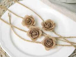 4 Burlap Flowers Napkin Rings Rustic Wedding Table Decor Twine Decoration Rose Wraps