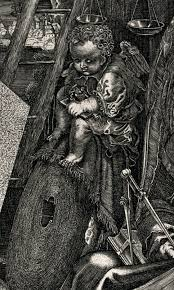 As He Leaned Closer To The Box And Scrutinized Woodcut On Top His Eyes Were Drawn Child Sitting A Grindstone Then Measuring