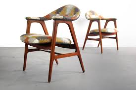 Danish Modern Side Chairs In Southwestern Print, Denmark