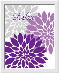 Purple Bathroom Wall Art Lavender Gray Flower Bursts Dahlias Floral Prints Girls Room Decor Home Bath Pr