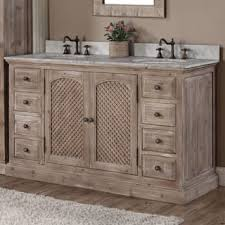 Rustic Style Quartz White Marble Top 60 Inch Double Sink Bathroom Vanity