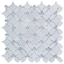 italian carrara white marble polished and floral design mosaic