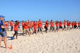 Sika Flex Corporate Group On Gold Coast Beach Firing Thrilling Sling Shots At Targets