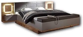 stilvolle doppelbett bettanlage mit bettkasten led beleuchtung 180 x 200 cm schlafzimmer komplett set in wildeiche optik basaltgrau 305 x
