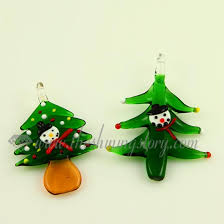 Christmas Tree Lampwork Murano Glass Necklaces Pendants Jewelry Green