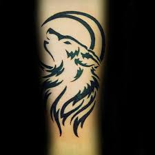 Realistic Wolf And Moon Tattoo