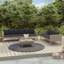 3 tlg garten lounge set garten sofagarnitur gartenlounge sofa sitzgarnitur set für garten mit auflagen poly rattan beige