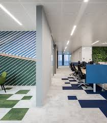 Bold Colored Patterns In Flooring Are Combined Matching Colors And Materials The Office Furniture Sets Acoustic Wall Panels