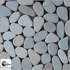 sliced pebble tile shower floor 盪 unique green sliced pebble river
