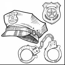 Marvelous Police Officer Badge Coloring Page With Police Coloring