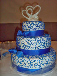 2 beautiful white and blue wedding cakes 7