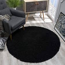 sanat teppich rund schwarz hochflor langflor modern teppiche fürs wohnzimmer schlafzimmer esszimmer oder kinderzimmer größe 120x120 cm