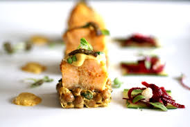 Pumpkin Ravioli Sage Butter Mkr by Indian Flavoured Salmon On Lentil Dhal Friendships Fine Dining