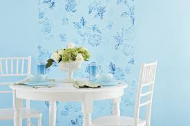 Interior Cute Baby Blue Themed Diy Wall Painting Enhanced With Floral Motif On It To
