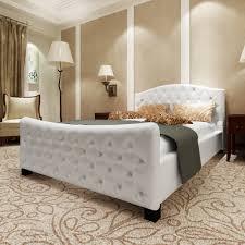 luxus kunstlederbett bett 180 cm weiß matratze lattenrost