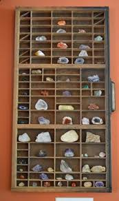 Hung An Antique Printers Drawer On The Wall To Showcase Our Sons Rock Mineral Collection IdeasCollection DisplaysA