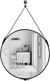 hofferruffer runder wandspiegel aus pu leder dekorativer spiegel mit aufhängeband silberfarbene hardware haken aufhänger durchmesser 60 cm